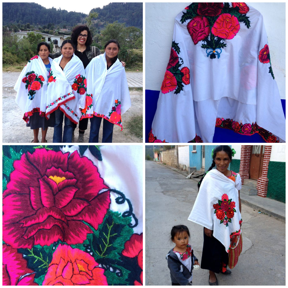 Embroidered shawls from Huixtan